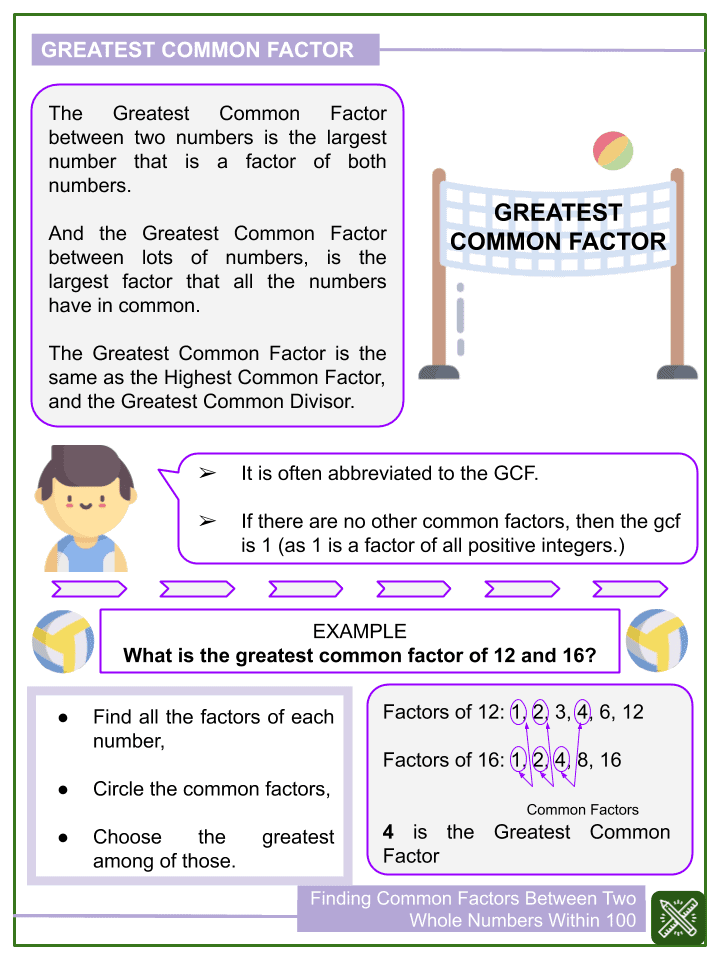 Finding Common Factors Between Two Whole Numbers Within 100 Worksheet (1)