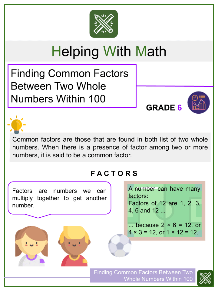 Finding Common Factors Between Two Whole Numbers Within 100 Worksheet