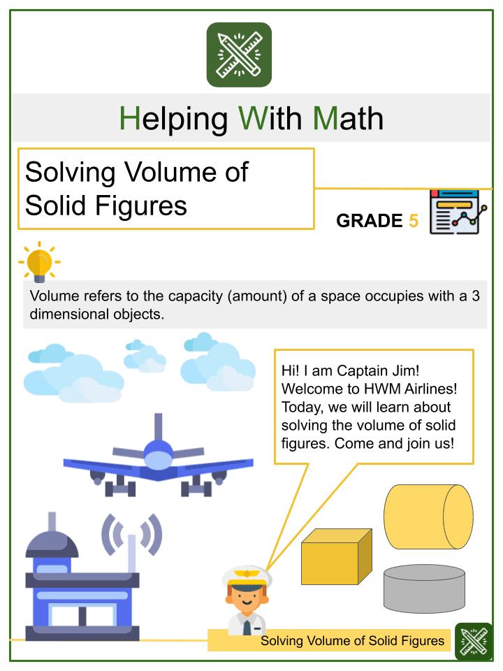 Solving Volume of Solid Figures Worksheets