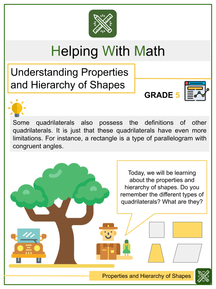 Understanding Properties and Hierarchy of Shapes Worksheets