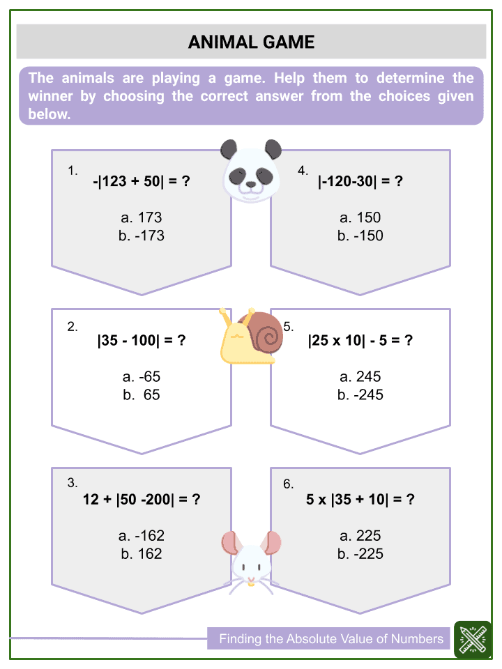 Finding the Absolute Value of Numbers (3)