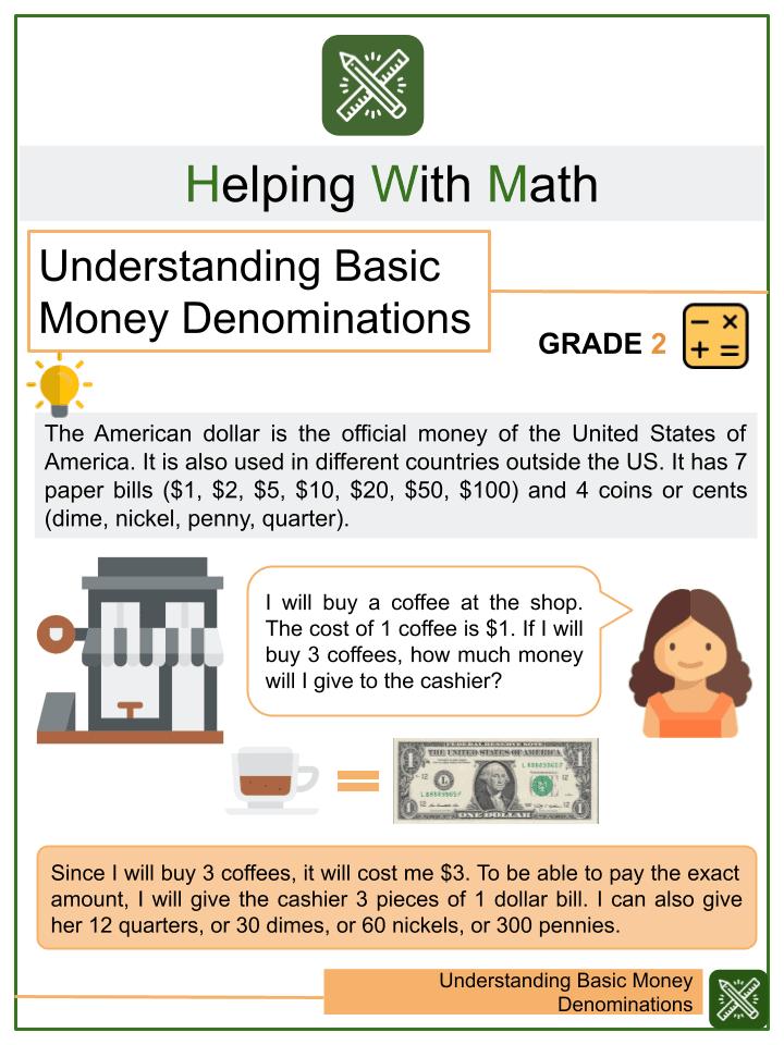 Understanding Basic Money Denominations Worksheet