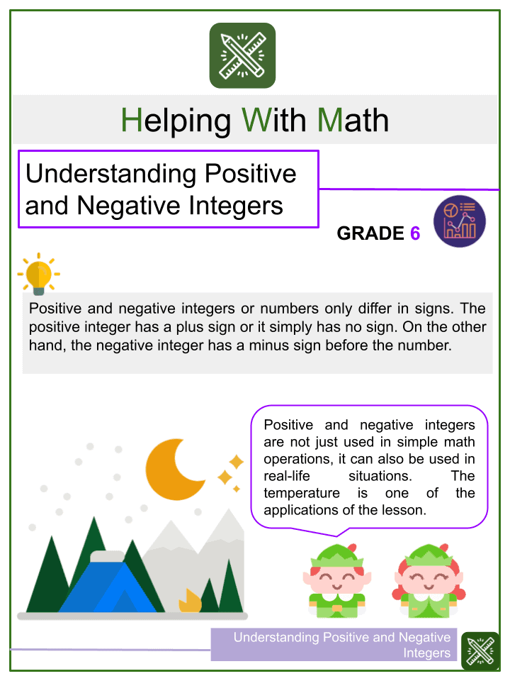 Understanding Positive and Negative Integers Worksheet