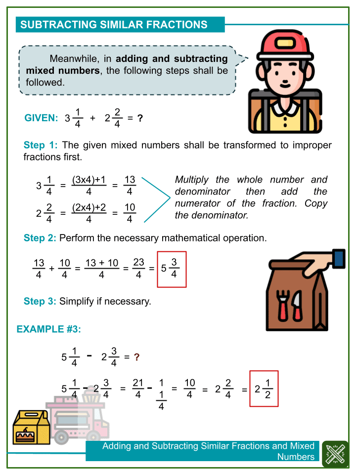 Adding and Subtracting Similar Fractions and Mixed Numbers with Word Problems (with denominators from 2 to 6) (2)