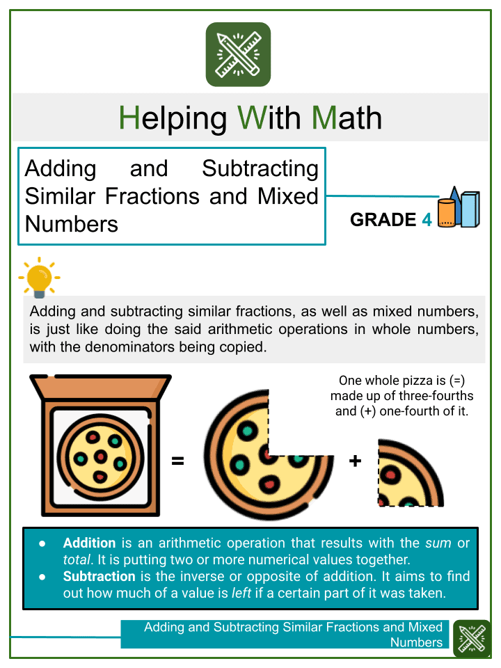 Adding and Subtracting Similar Fractions and Mixed Numbers with Word Problems (with denominators from 2 to 6)