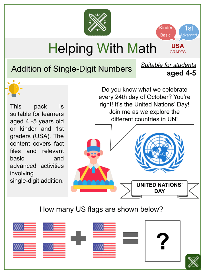 Addition of Single-Digit Numbers Worksheets