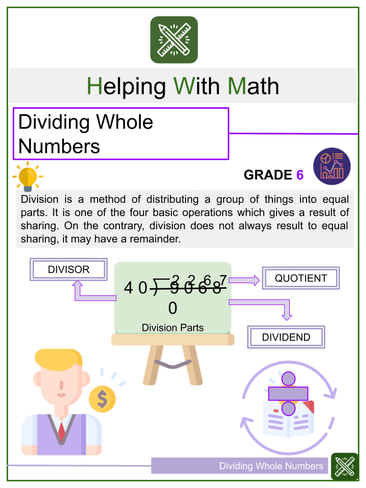 Dividing Whole Numbers Worksheet