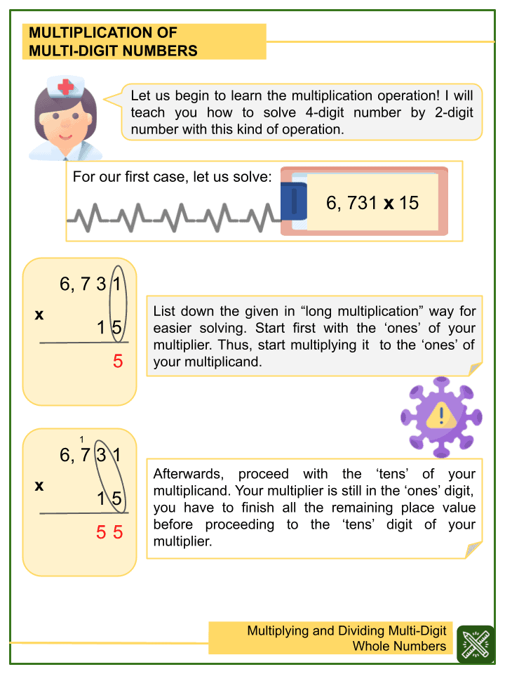 Multiplying and Dividing Multi-Digit Whole Numbers Worksheet (1)