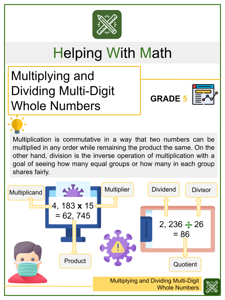 Multiplying and Dividing Multi-Digit Whole Numbers Worksheet