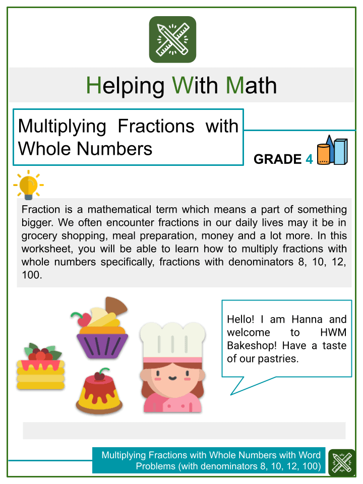 Multiplying fractions with whole numbers with word problems (with denominators 8, 10, 12, 100).pptx