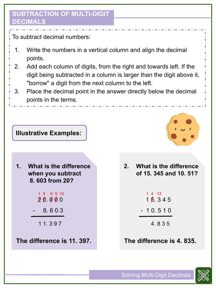 Solving Multi-Digit Decimals Worksheet (2)