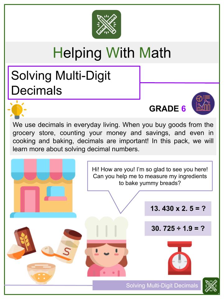 Solving Multi-Digit Decimals Worksheet