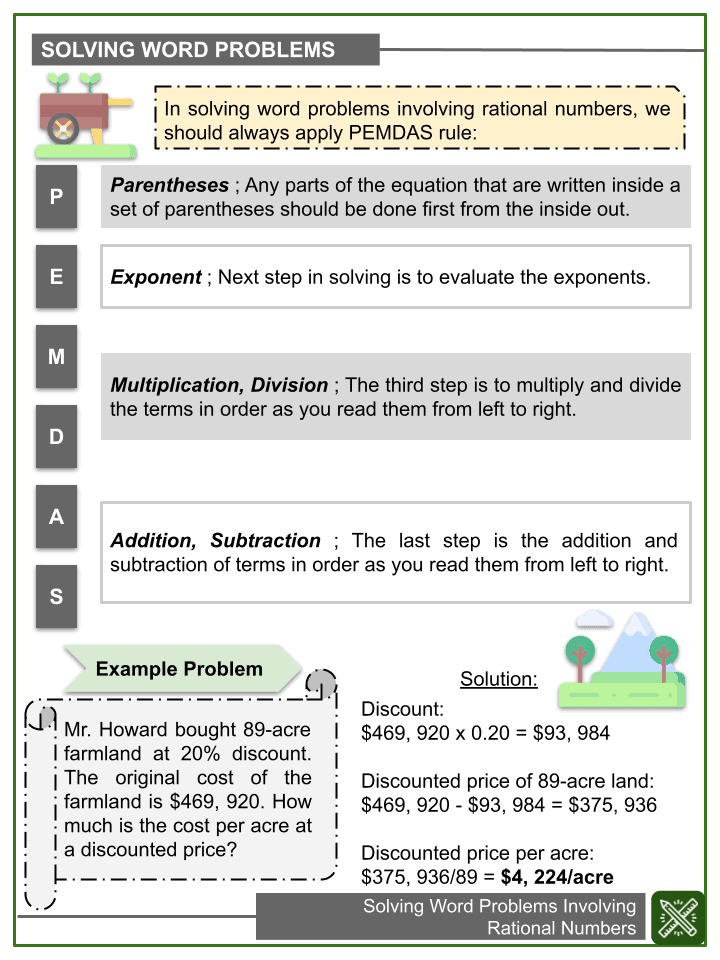 Solving Word Problems Involving Rational Numbers Worksheets (2)