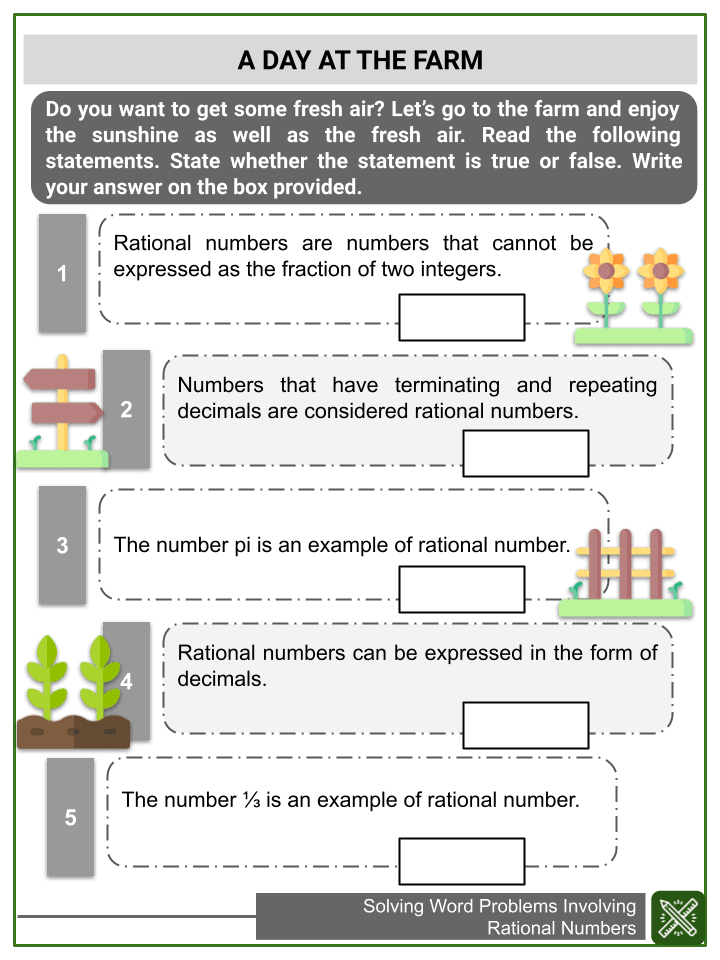 Solving Word Problems Involving Rational Numbers Worksheets (3)