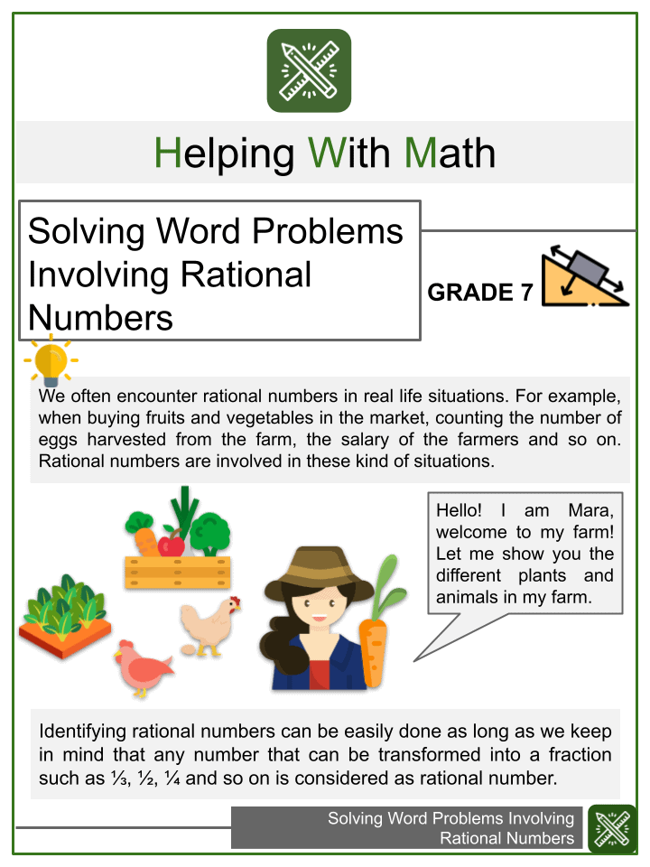 Solving Word Problems Involving Rational Numbers Worksheets