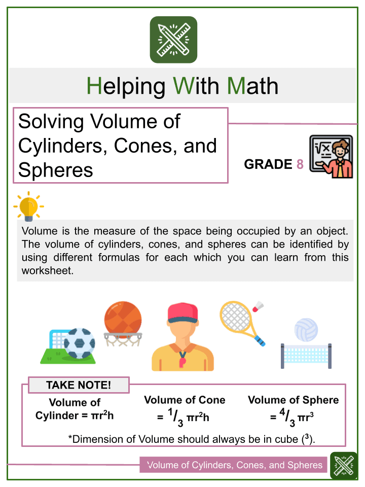 Solving Word Problems Involving Volume of Cylinders, Cones, and Spheres