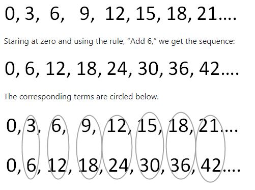 2 number sequences by 3s and by 6s showing pairs