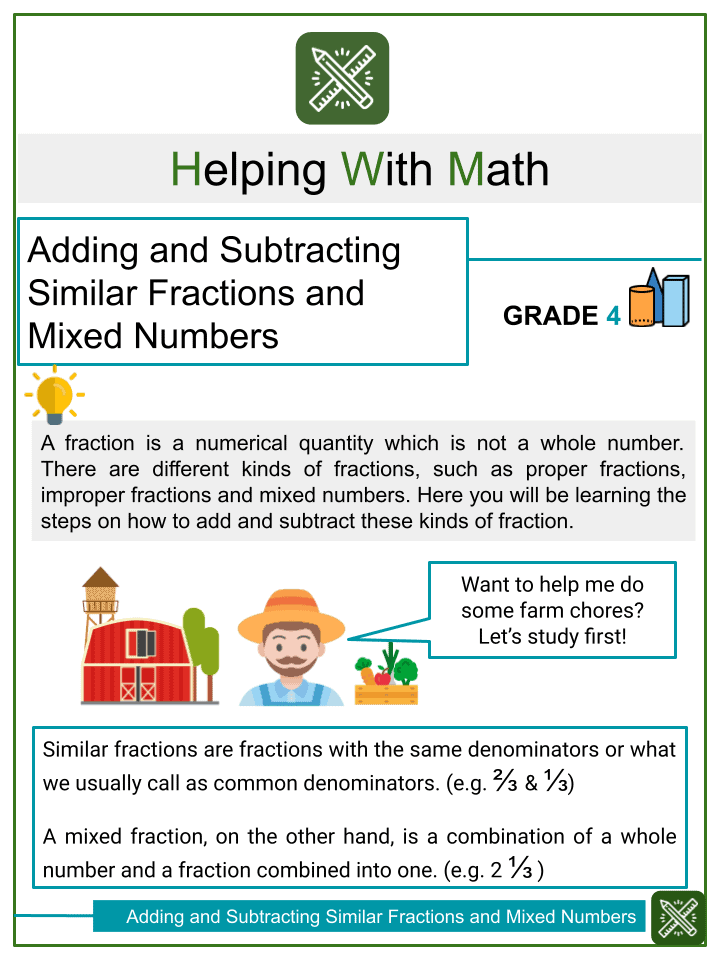 Adding and Subtracting Similar Fractions and Mixed Numbers with Word Problems (with denominators 8, 10, 12, 100)