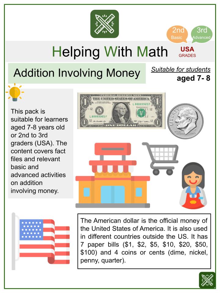 Addition Involving Money Worksheets