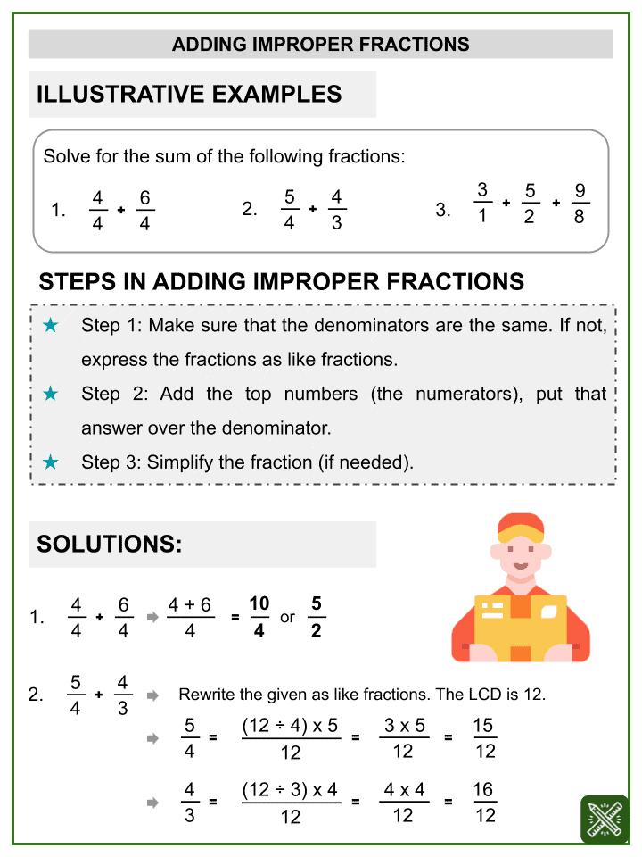 Addition of Improper Fractions Worksheets (1)