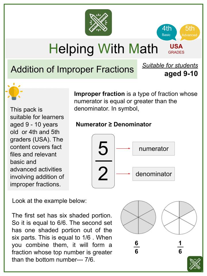 Addition of Improper Fractions Worksheets