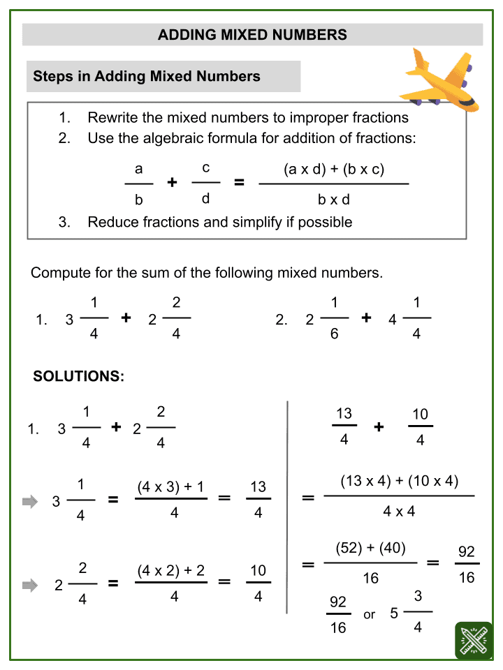 Addition of Mixed Numbers Worksheets (2)