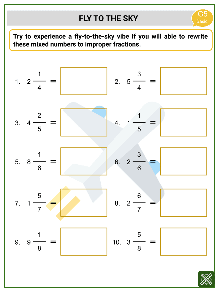 Addition of Mixed Numbers Worksheets (3)