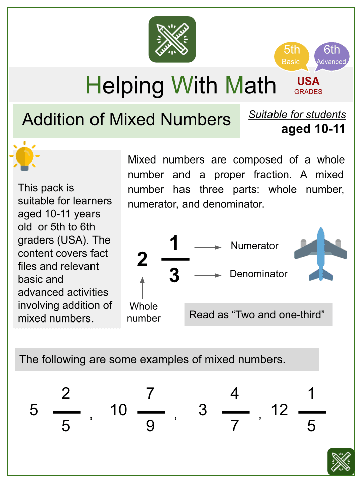 Addition of Mixed Numbers Worksheets