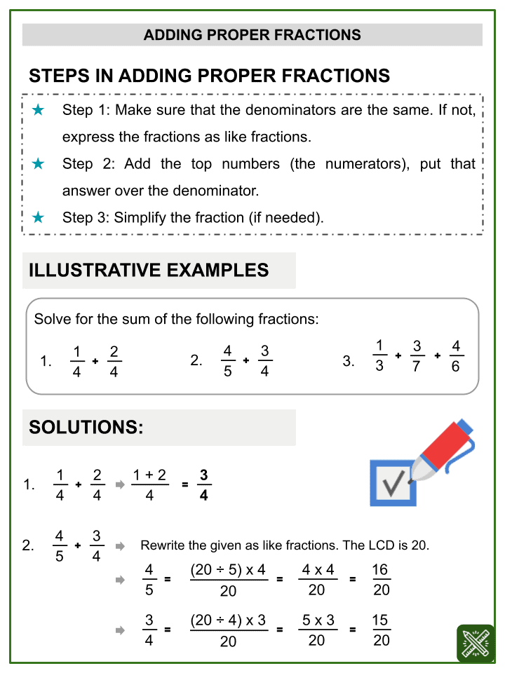 Addition of Proper Fractions Worksheets (1)