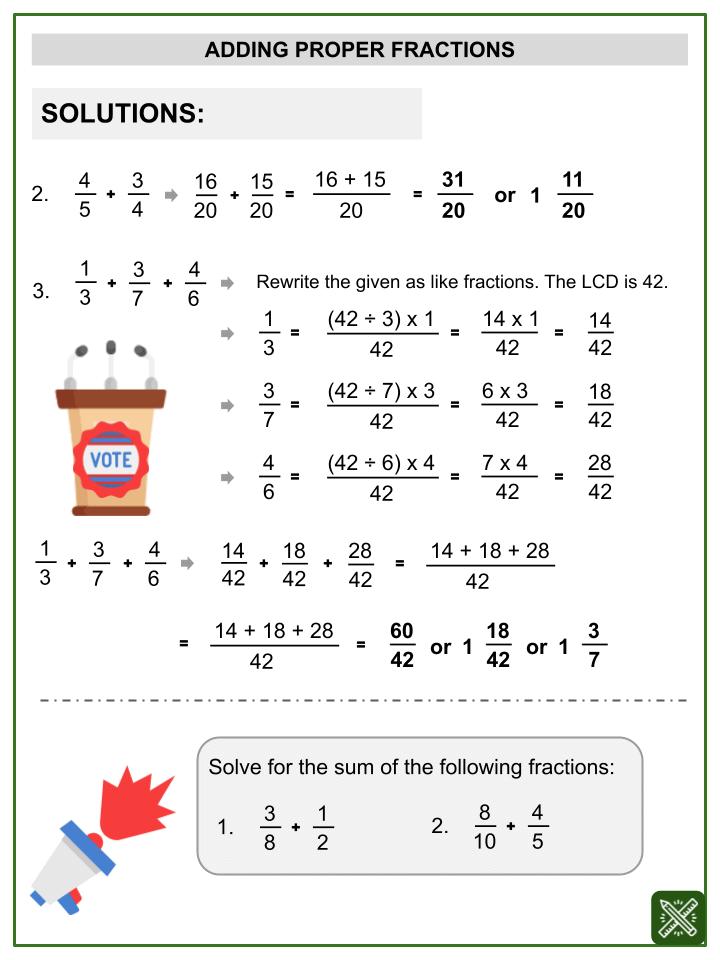 Addition of Proper Fractions Worksheets (2)