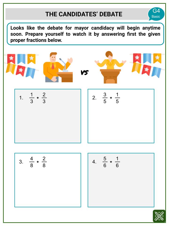 Addition of Proper Fractions Worksheets (3)