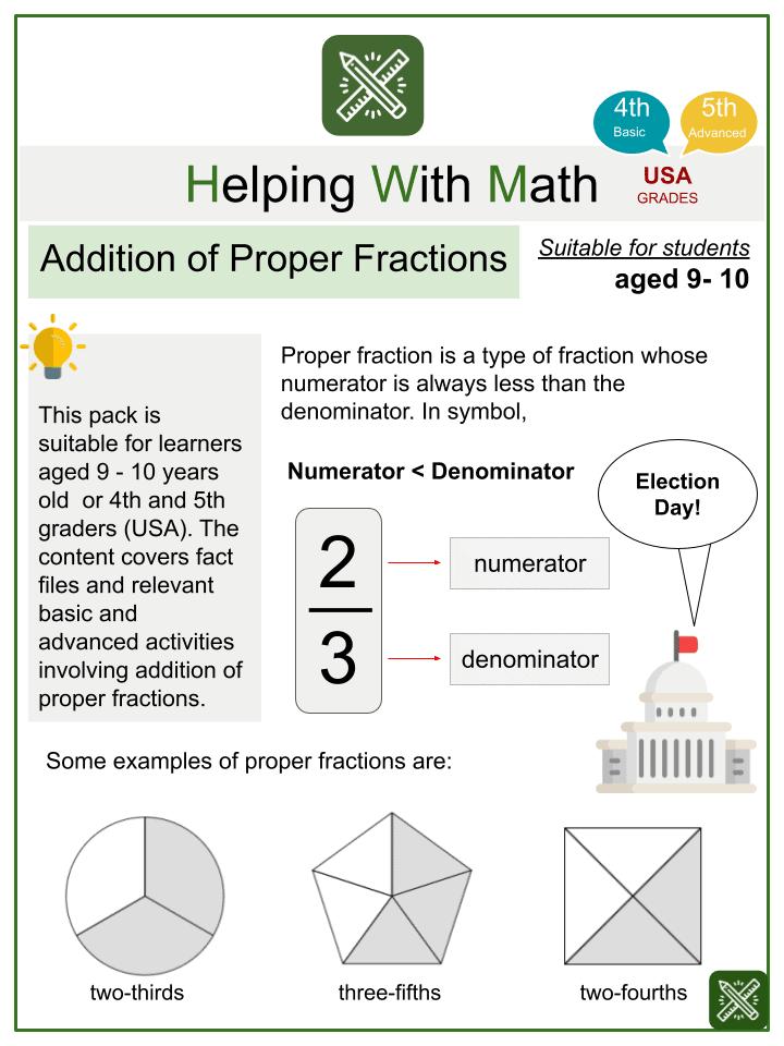Addition of Proper Fractions Worksheets
