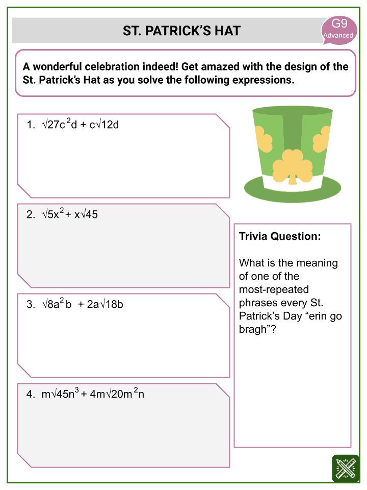 Addition of Radical Expressions Worksheets (3)