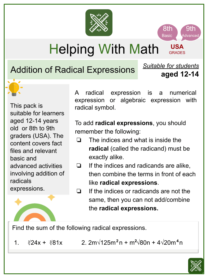 Addition of Radical Expressions Worksheets