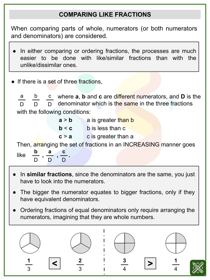 Comparing Fractions (New Year's Day Themed) Worksheets (1)