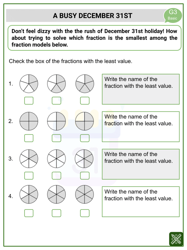 Comparing Fractions (New Year's Day Themed) Worksheets (3)