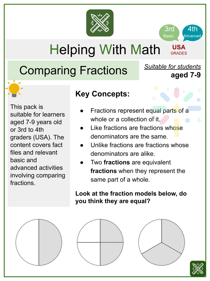 Comparing Fractions (New Year's Day Themed) Worksheets