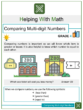 Comparing Multi-digit Numbers 4th Grade Math Worksheets