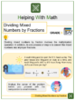 Dividing Mixed Numbers by Fractions 5th Grade Math Worksheets