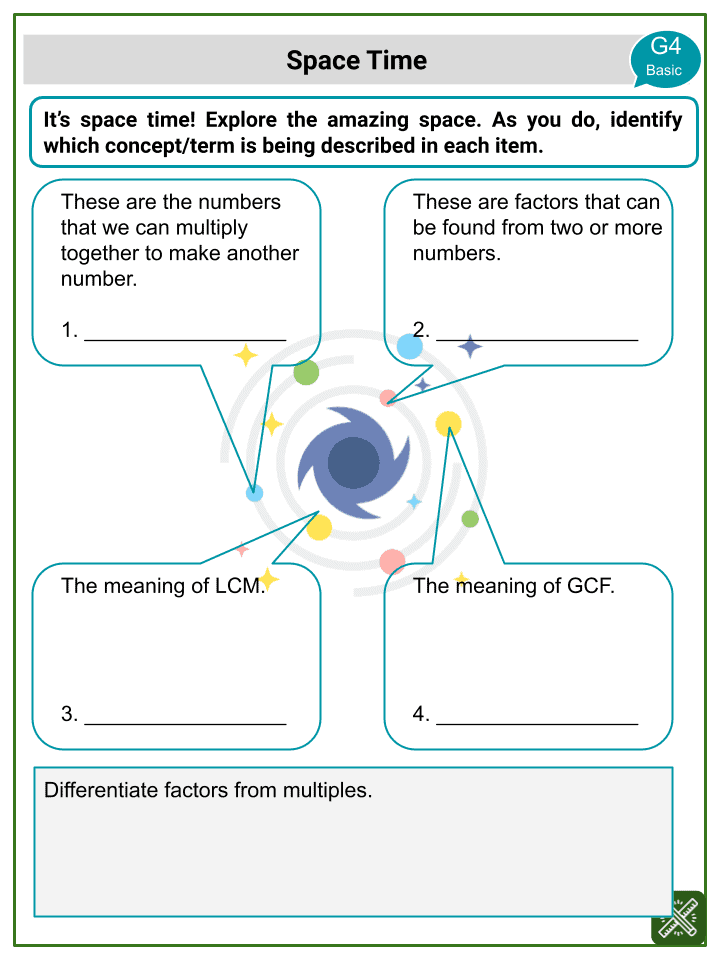 Factors and Multiples (Space themed) Worksheets (3)