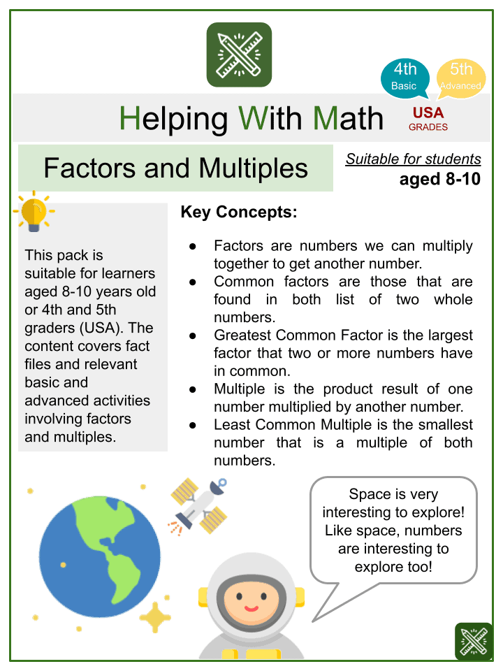 Factors and Multiples (Space themed) Worksheets