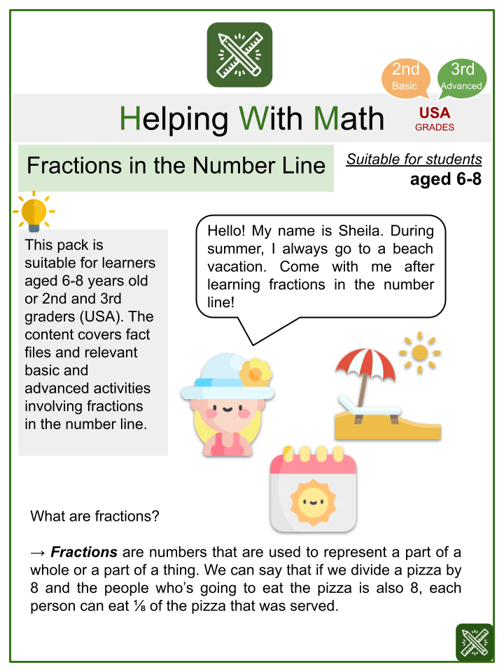 Fractions in the Number Line (Summer Themed) Worksheets.pptx