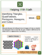Identifying Triangles, Quadrilaterals, Pentagons, Hexagons, and Cubes 2nd Grade Math Worksheets