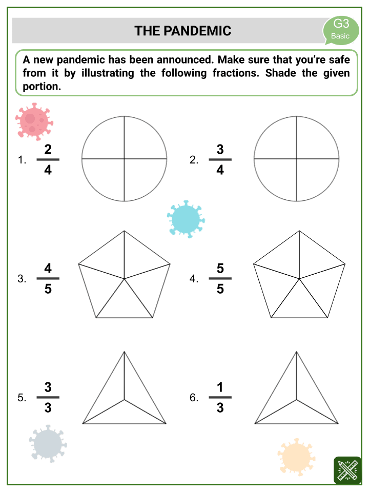 Like Fractions (CoVid-19 Themed) Worksheets (3)