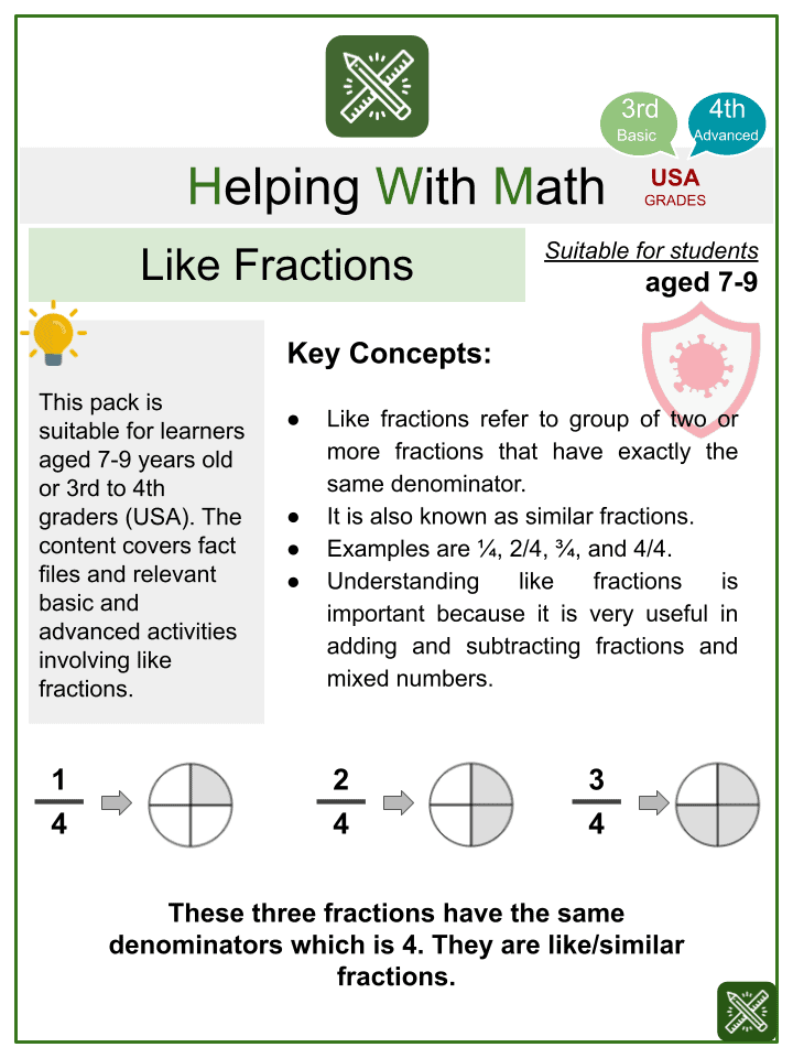 Like Fractions (CoVid-19 Themed) Worksheets