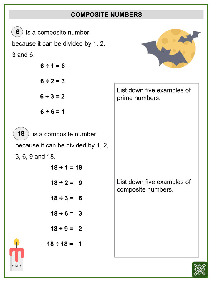 Prime and Composite Numbers (Halloween Themed) Worksheets (2)