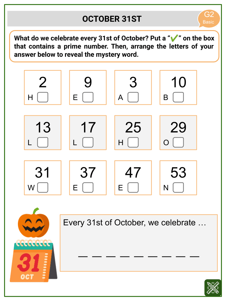 Prime and Composite Numbers (Halloween Themed) Worksheets (3)