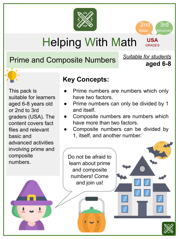 Prime and Composite Numbers (Halloween Themed) Worksheets