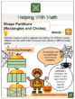 Shape Partitions (Rectangles and Circles) 2nd Grade Math Worksheets