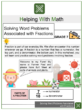Solving word problems associated with fractions 7th Grade Math Worksheets